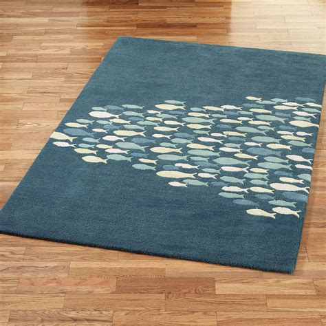fishing rug schooled fish wool area rugs