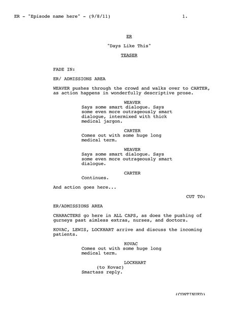 screenplay format template writing for tv script format templates