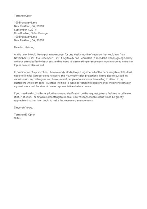 vacation leave request letter templates