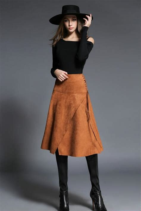 suede skirt drawstring a line skirt irregular