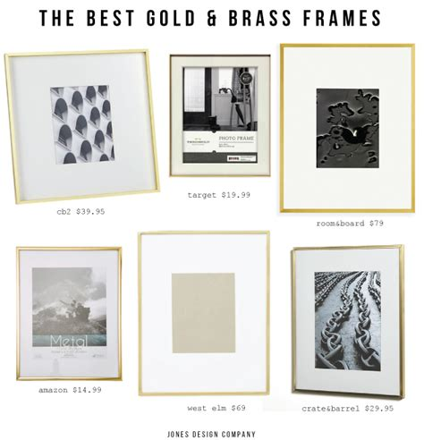 gallery brass 11x14 picture frame cb2 the best gold and brass picture frames jones design company