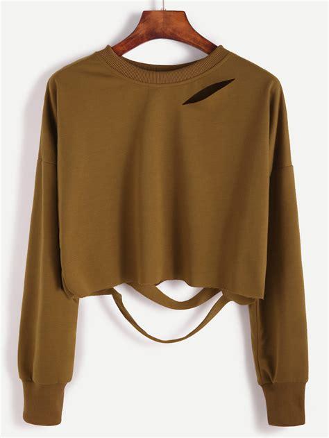 Shoulder Cut Out Shirt khaki drop shoulder cut out crop t shirtfor romwe