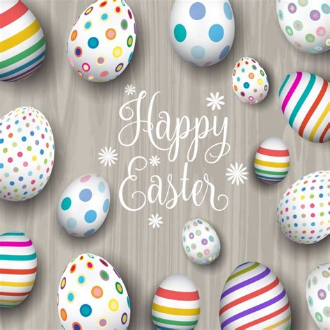 background with easter eggs on wood vector free