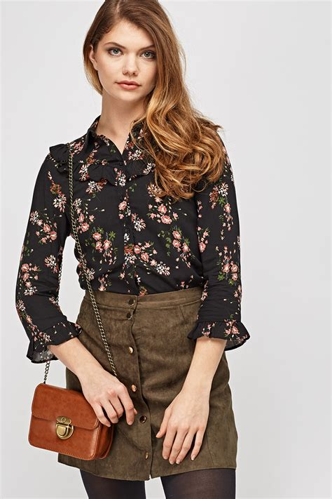 Frilled Sleeve Blouse floral frilled sleeve blouse black multi just 163 5