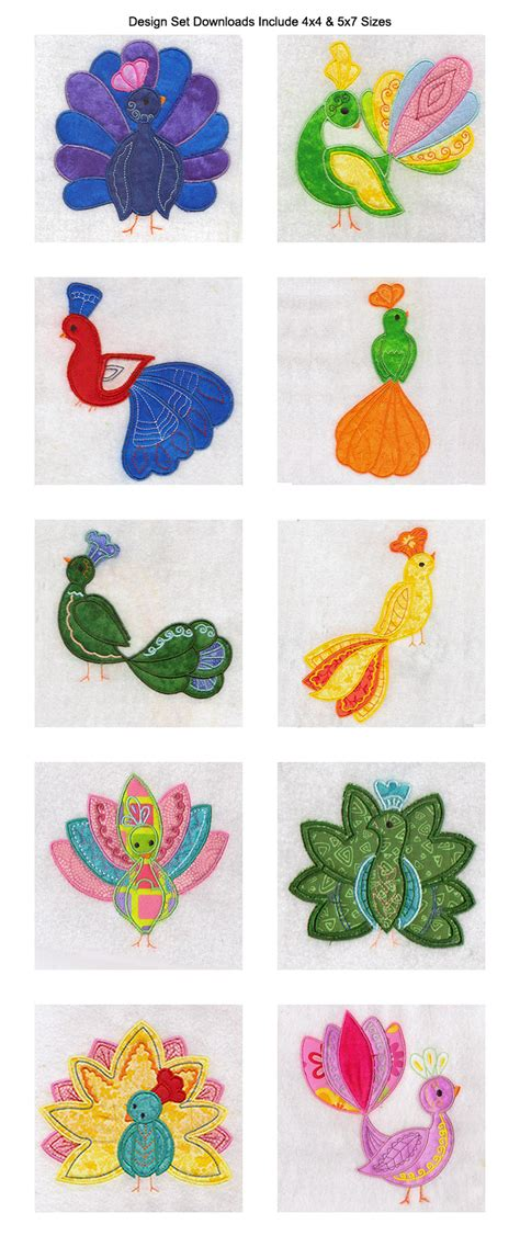 peacock applique machine embroidery designs applique peacocks set