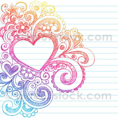doodle hearts abstract sketchy doodle drawing vector il
