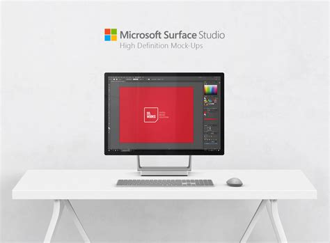 Microsoft Surface Studio on Desk Mockup Free PSD Download