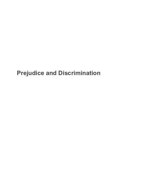Prejudice And Discrimination Essay by Prejudice And Discrimination Sle Paper Essay