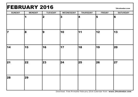 printable planner february 2016 printable calendar 2016 february 2016 blank printable