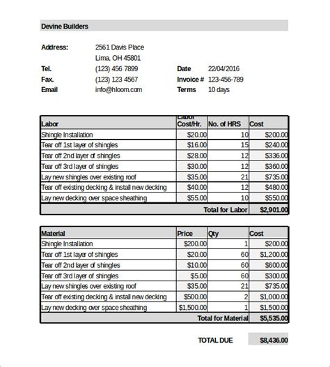 bill estimate template bill estimate template 28 images 7 estimate invoice