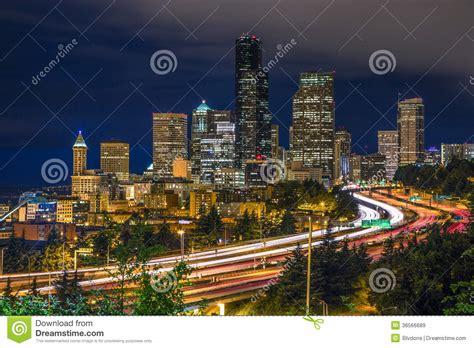 seattle city light login seattle downtown night long exposure stock image image