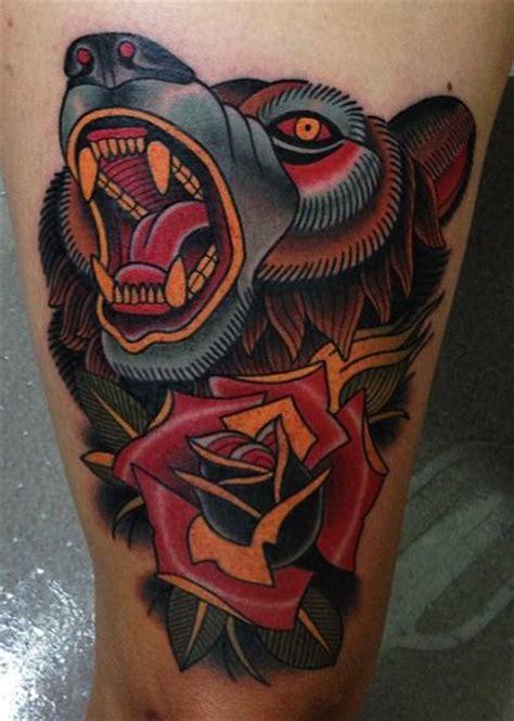 tattoo new school bear old school flower bear thigh tattoo by montalvo tattoos