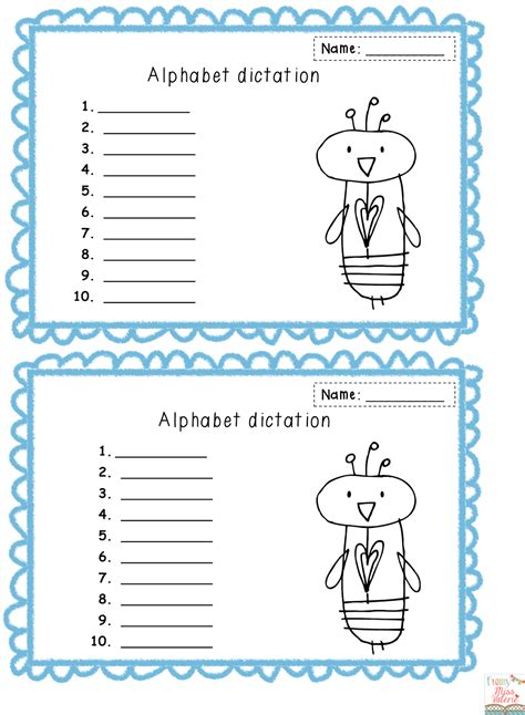 Letter Dictation miss val 233 rie alphabet