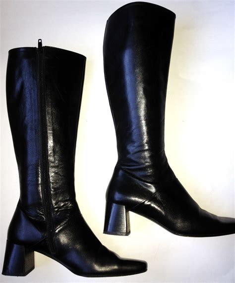 italy black leather knee high boots womens