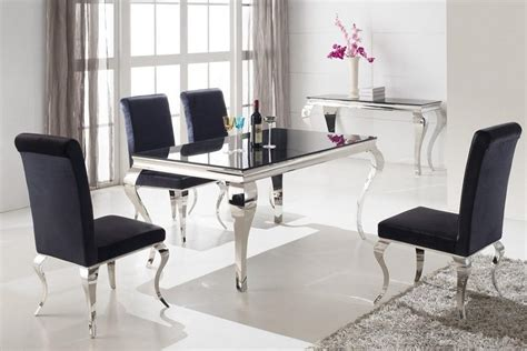 vida living louis 200cm dining table with 6 louis black glass 200 cm 6 seater dining set