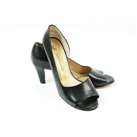 kaiser jamala black open toe 60mm heel smart shoe