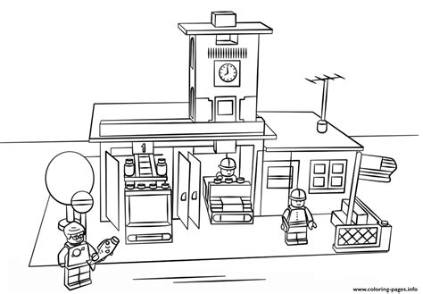 lego fire station city coloring pages printable