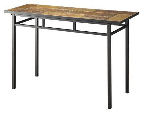 metal sofa table 4d concepts sofa table w slate top in metal beyond stores