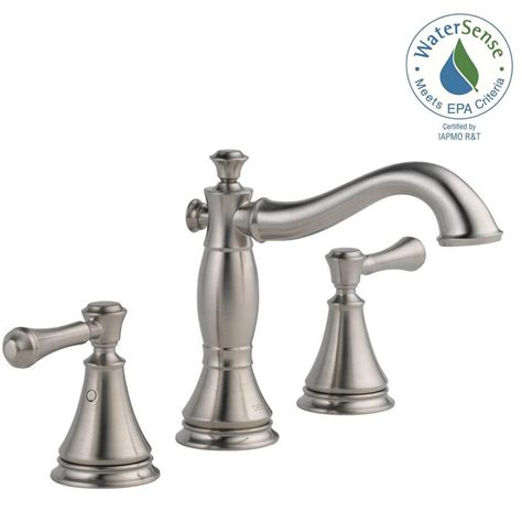 home depot bathroom faucets delta delta cassidy 8 in widespread 2 handle bathroom faucet with metal drain assembly in