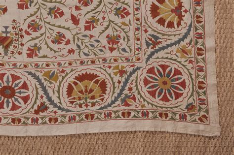 Antique Suzani Embroidered Coverlet At 1stdibs