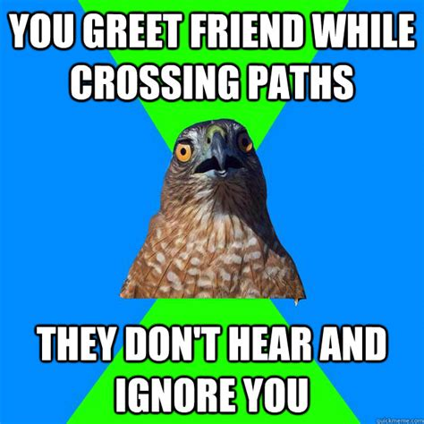 Hawkward Meme - you greet friend while crossing paths they don t hear and
