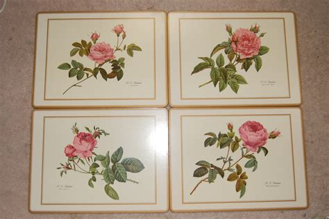 pimpernel placemats r j redoute hardboard corkback set of 4 roses placemats