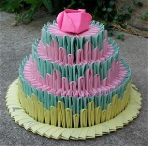 3d Origami Cake - papercraftcentral net 3d origami three levels birthday cake