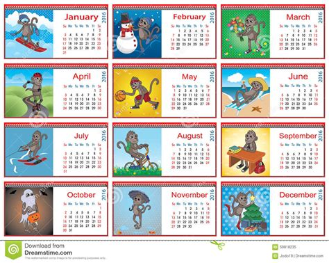 Do Something For A Child Each Month by Set Of Horizontal Calendars For Each Month In 2016 Stock