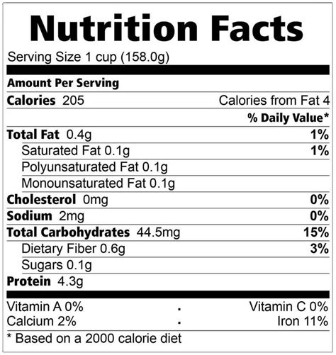 Family Choice Grains Processing Center Inc.   Healthy Ideas   Nutrition Facts