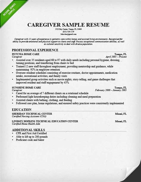Resume For A Caregiver resume sle