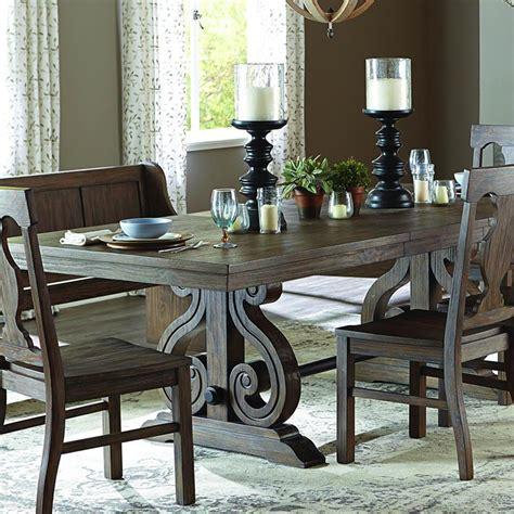dining room set for 6 homelegance toulon 6 piece rectangular trestle dining room