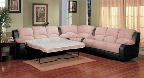 Microfiber Sectional Sleeper Sofa Two Tone Suede Soft Microfiber Modern Sectional Sofa W Sleeper