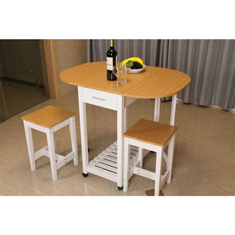 Island Tables For Kitchen With Chairs Basicwise 3 White Kitchen Island Breakfast Bar Set With Casters And Drop Island Table