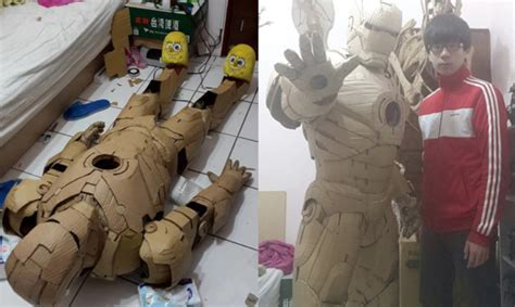 How To Make Iron Suit Out Of Paper - wearable iron suit made out of cardboard nerdist