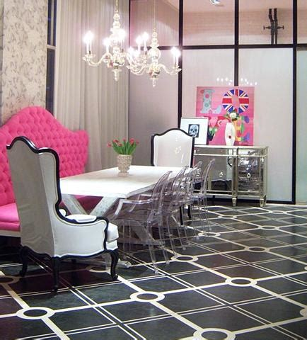 chic interior design pink tufted bench eclectic dining room liv chic interior design