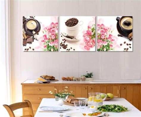 3 panel printed abstract still flower coffee kitchen painting cuadros home
