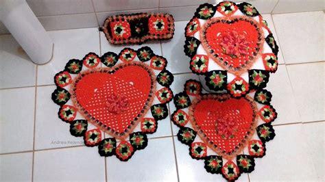 tapetes coloridos de croche jogos e amostra decoracao jogo de tapete banheiro croch 234 barbante flor 4 pe 231 as r