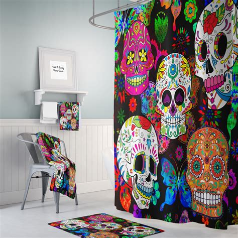 Of The Dead Shower by Sugar Skull Shower Curtain Day Of The Dead Rocking Color