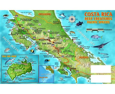 detailed road map of costa rica maps of costa rica detailed map of costa rica in