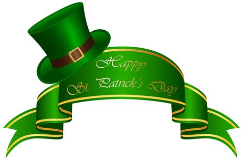 st patricks day st patricks day banner and hat transparent clip image clipartix