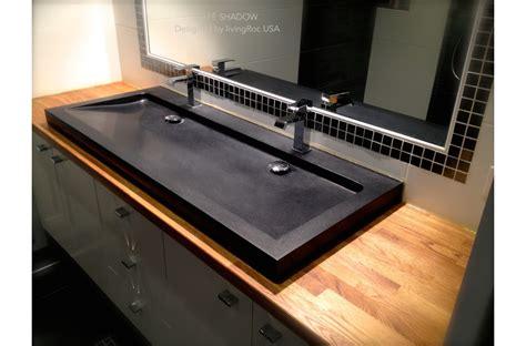 47 quot black granite double trough bathroom sink yat 201 shadow