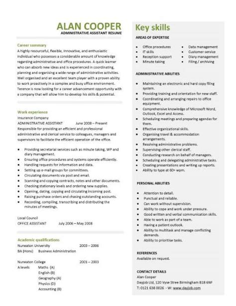 administrative assistant cv resume key skills writing resume sle writing resume sle