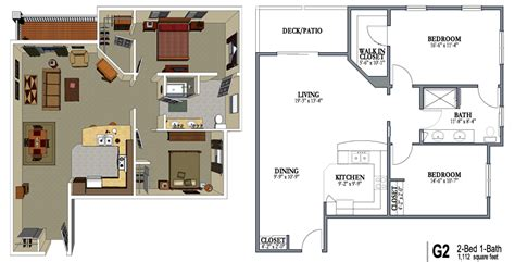 2 Bedroom One Bath Apartment Floor Plans | 2 bedroom 1 bath apartment floor plans 2 bed one bath