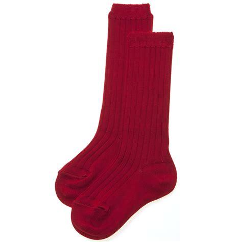 red pattern socks knee high socks in red with fine rib pattern cachet kids