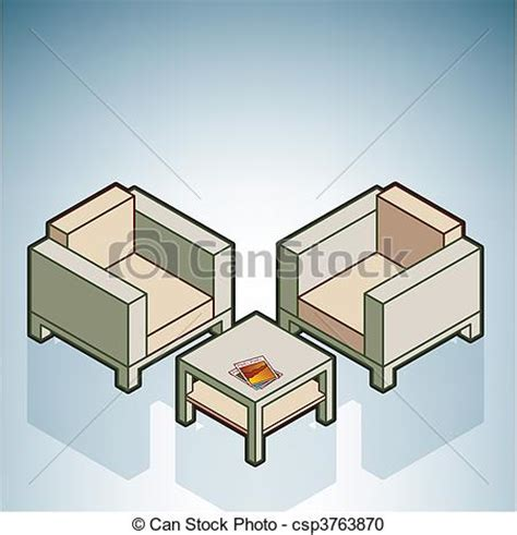 Isometric Furniture Drawing by Vector Clipart Of Chairs Coffee Table Part Of The