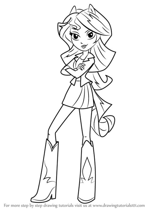 Learn How To Draw Sunset Shimmer Human From My Little Pony My Pony Equestria Coloring Pages Sunset Shimmer Printable