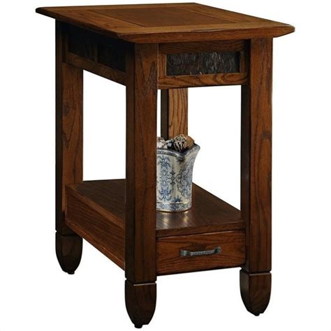 leick furniture slatestone chairside end table in a rustic