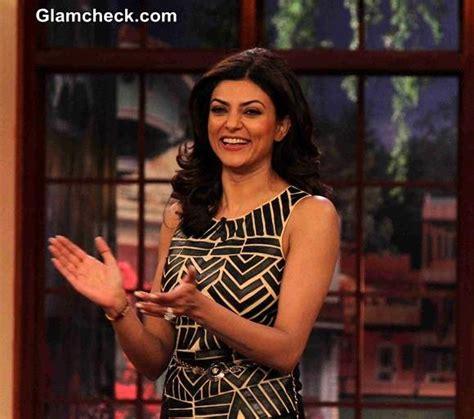sushmita sen hairstyle sushmita sen in monochrome top on comedy nights with kapil