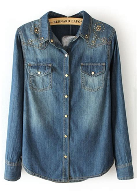 Sleeve Blouses With Pockets by Blue Pockets Lapel Sleeve Denim Blouse Blouses