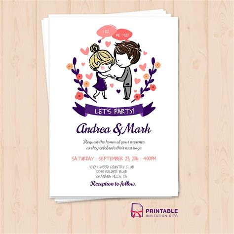 i do me too let s party wedding invitation template